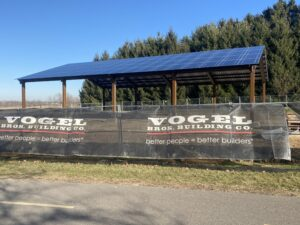 A progress picture of the solar panels at Dane County Park.